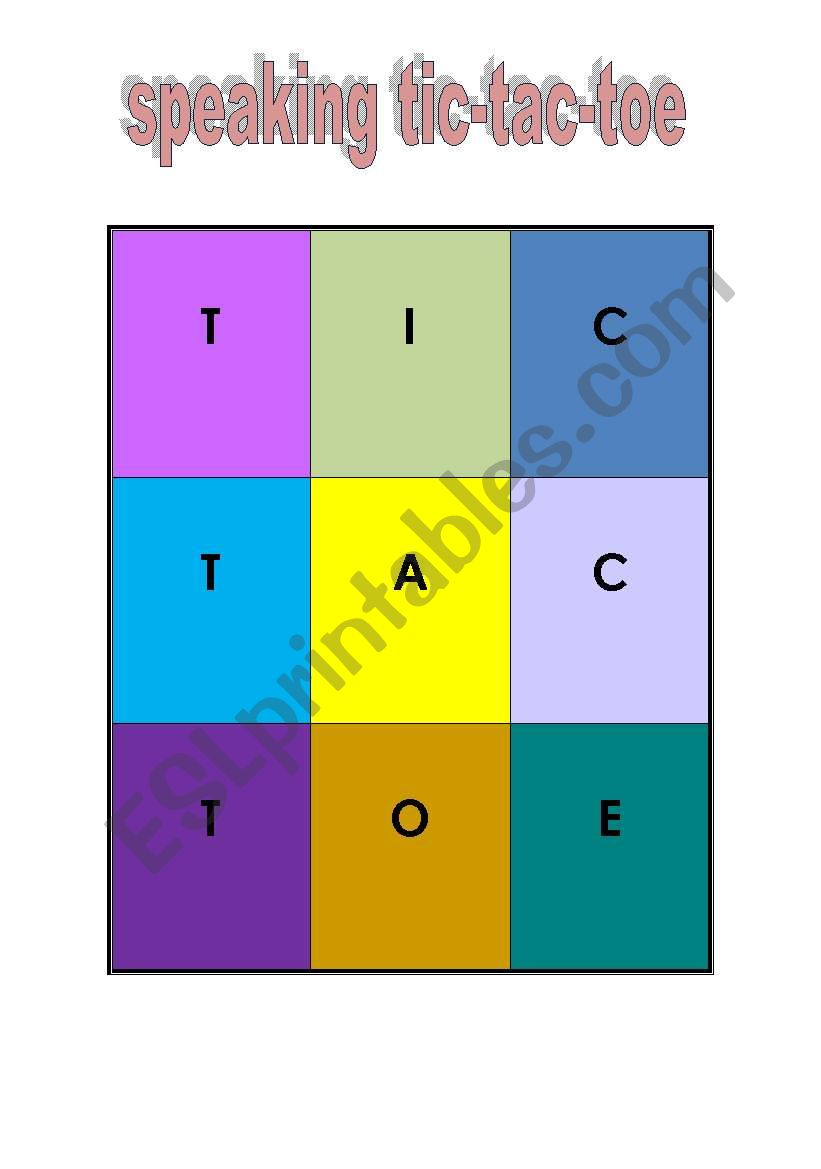 speaking tic tac toe worksheet