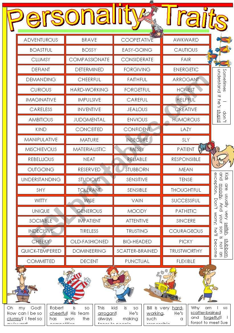 5-paged worksheet on PERSONALITY (character) TRAITS. (1st part)