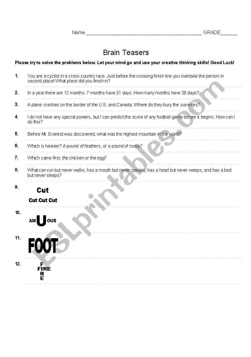 Brain Teasers - ESL worksheet by tini