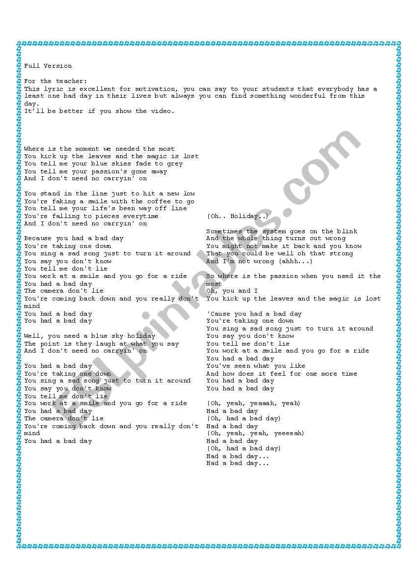 Daniel Powter - Bad Day/ Filling the blanks - ESL worksheet