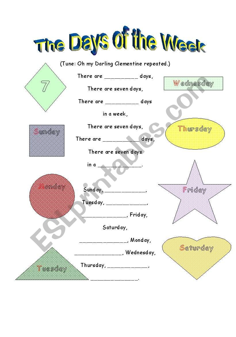 english worksheets  days of the week part 2