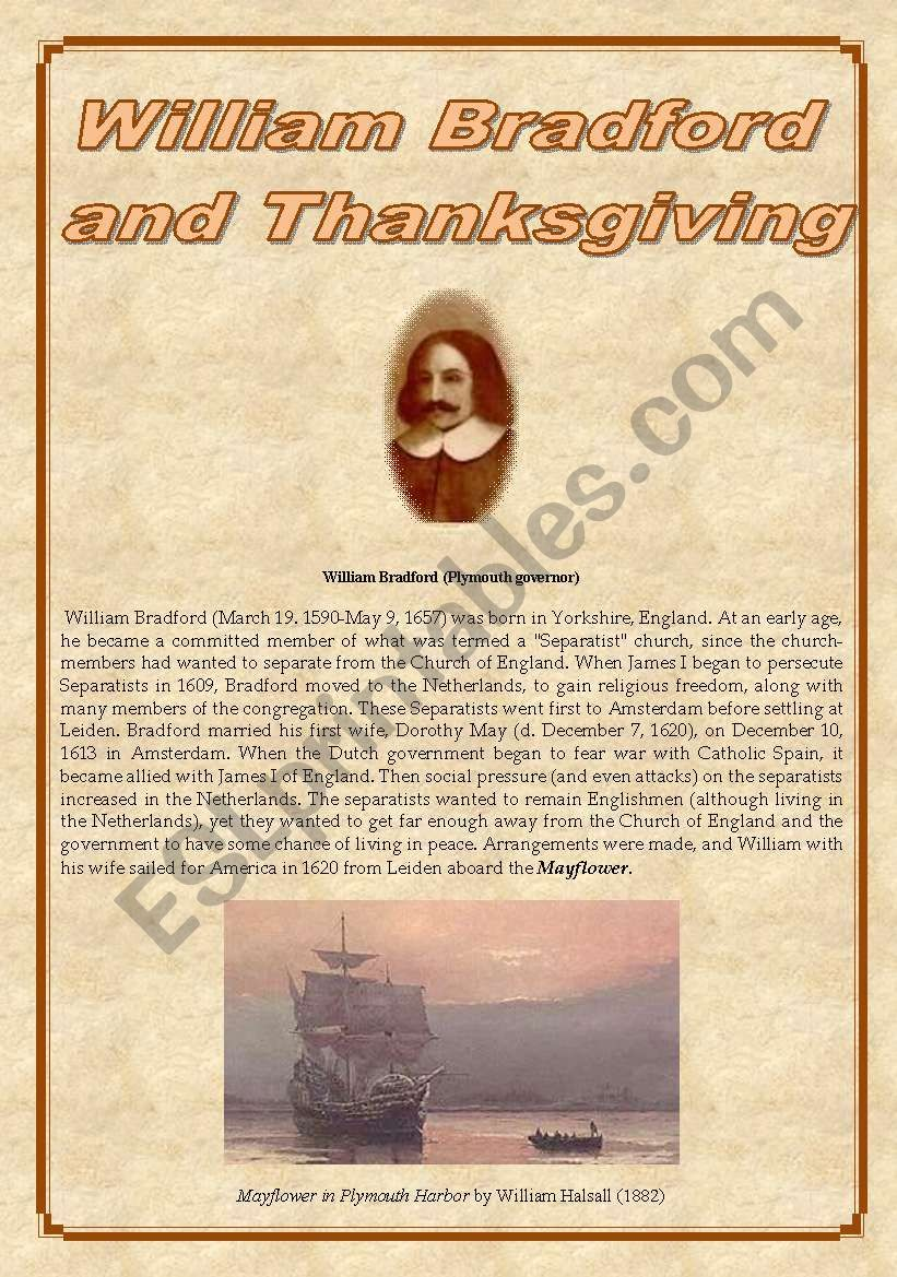 William BRADFORD & THANKSGIVING - reading and activities - 4 pages