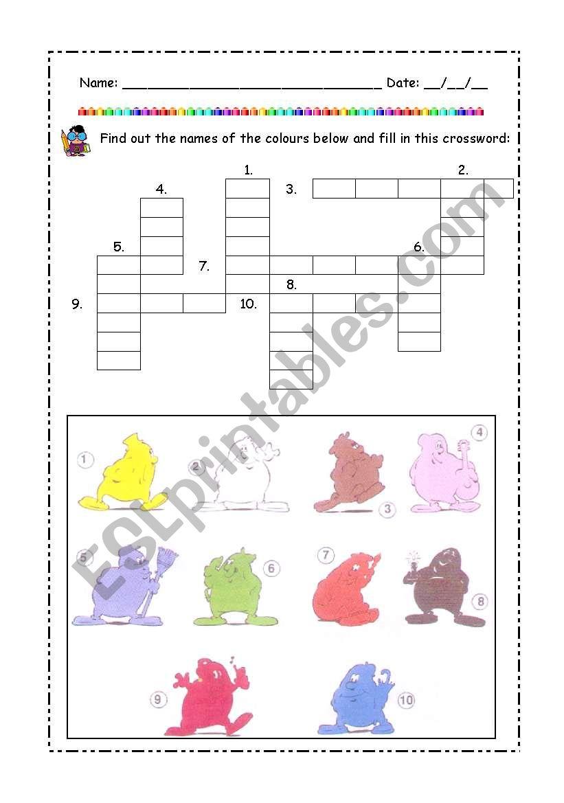 Colors crossword worksheet