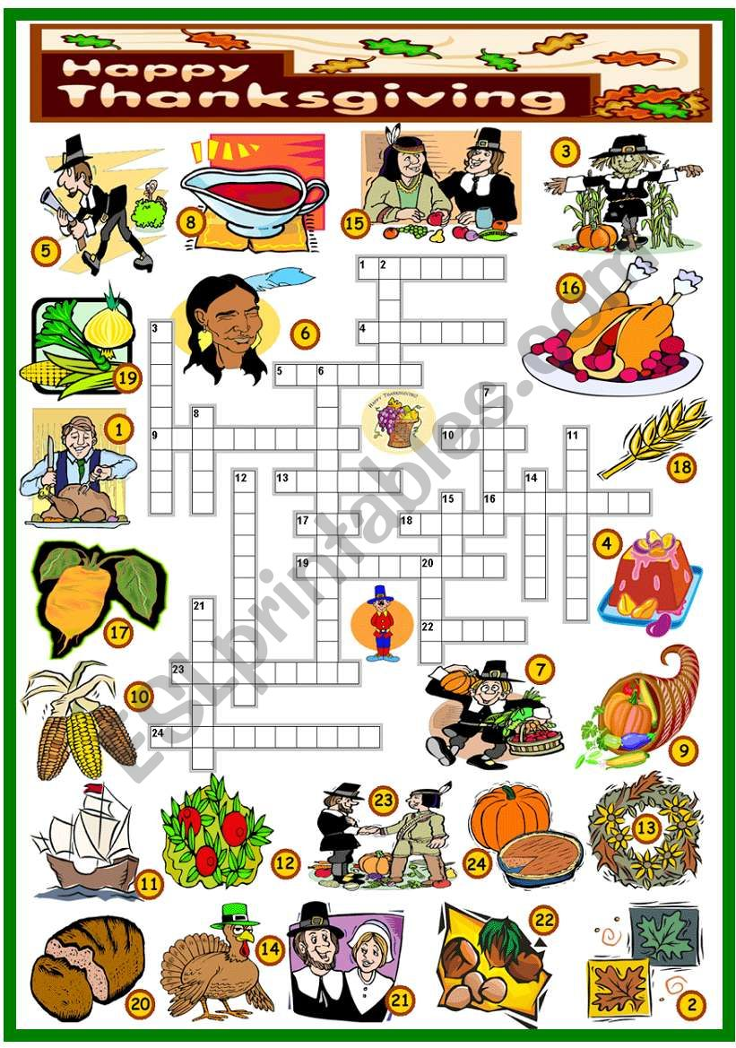 THANKSGIVING -CROSSWORD (KEY AND B&W VERSION INCLUDED)