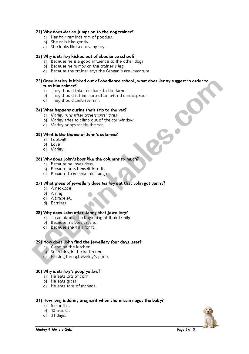 Marley & Me - Quiz - ESL worksheet by Wakewinha