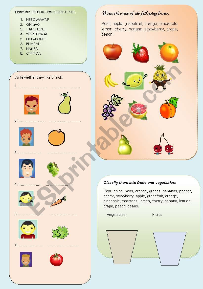The fruits and vegetables worksheet