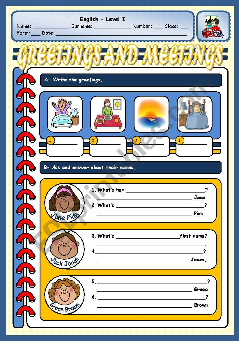 GREETINGS AND NAMES/SURNAMES worksheet