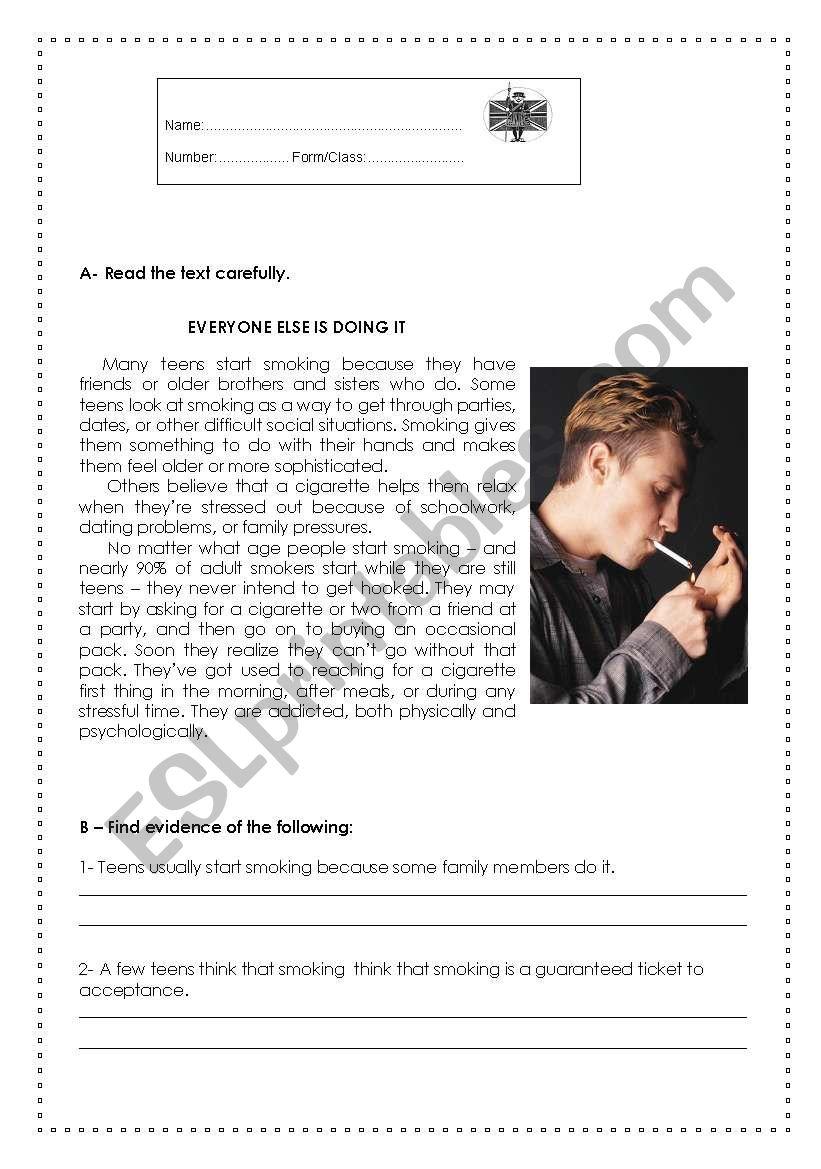 Smoking Teens worksheet