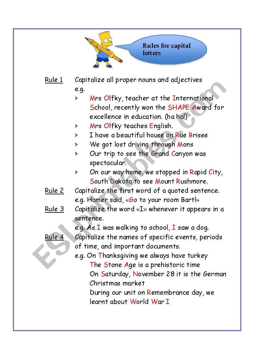 Rules for Capitalization worksheet