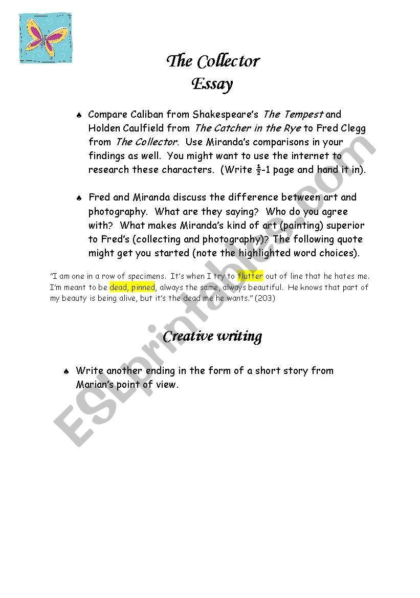 the collector essay ideas