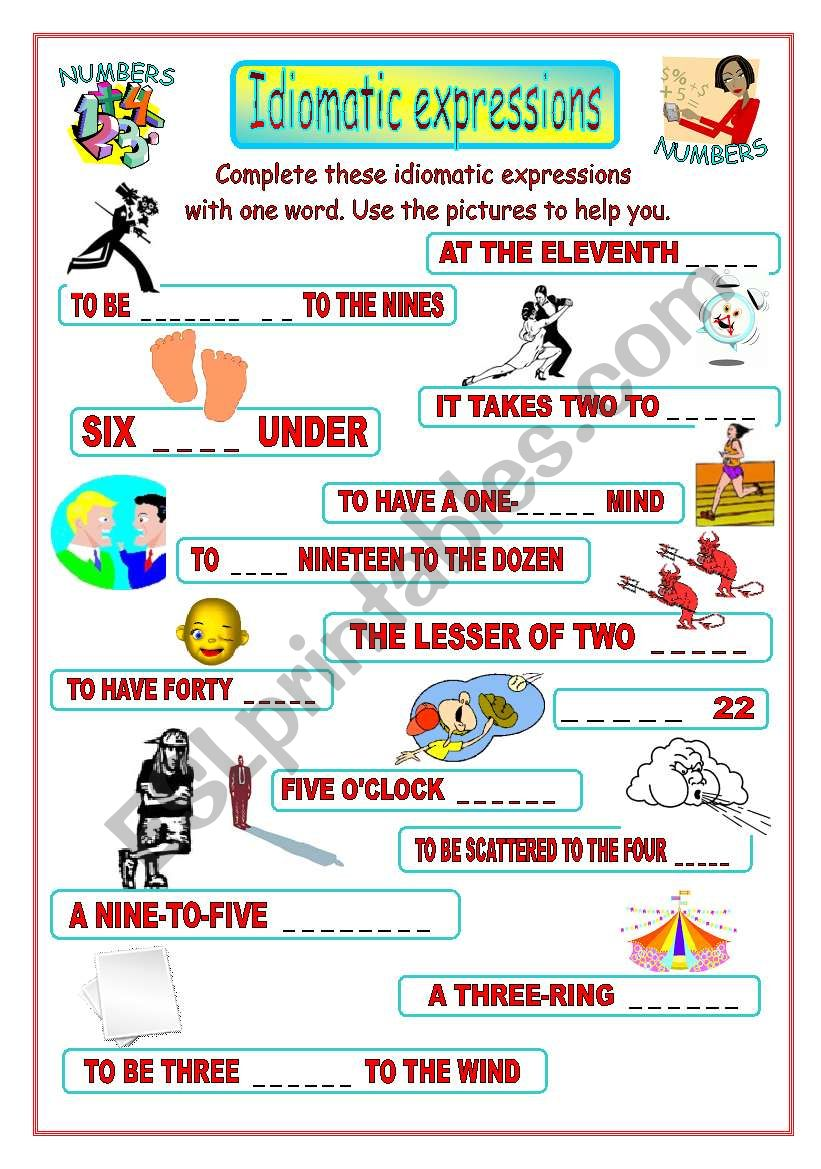 Idiomatic expressions - NUMBERS -