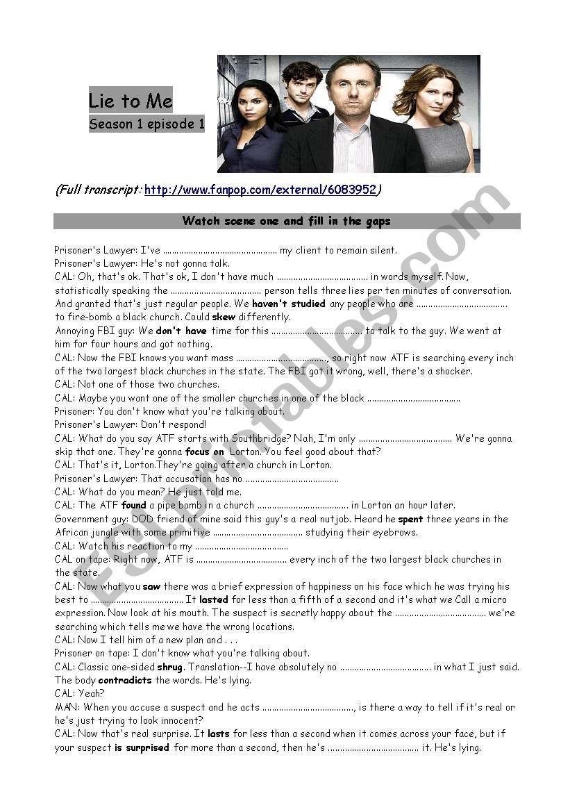 Lie to Me series worksheet