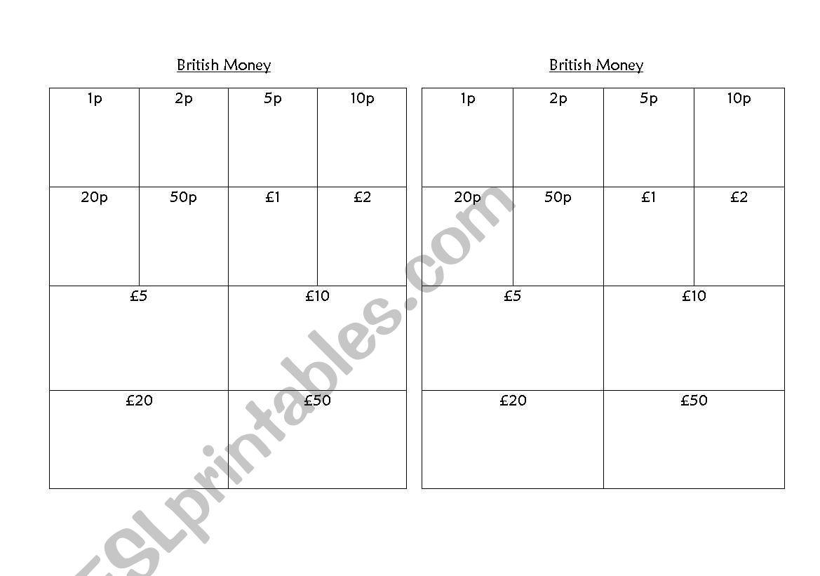 British money rubbing worksheet