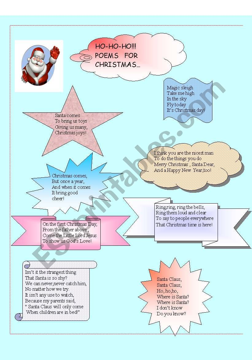 POEMS FOR CHRISTMAS - ESL worksheet by alexlavi