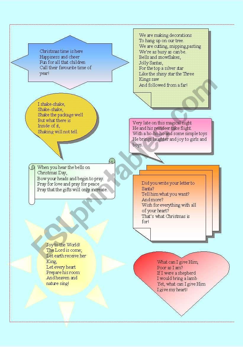 POEMS FOR CHRISTMAS - ESL worksheet by alexlavi