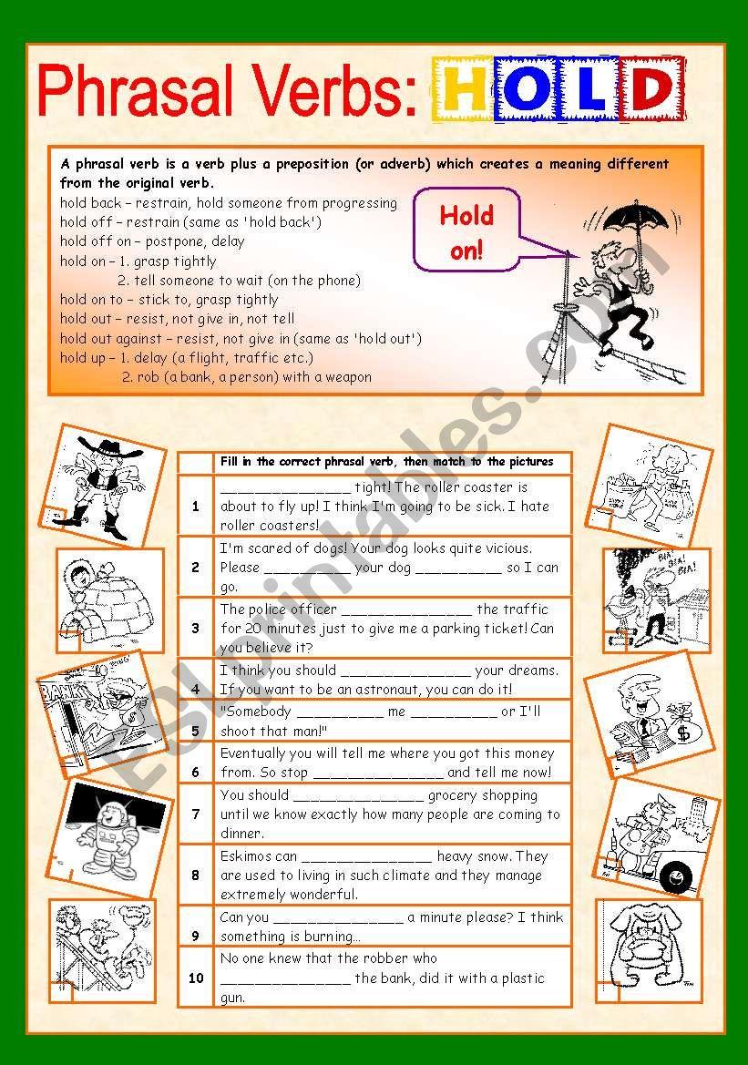 Phrasal verbs (10/10): HOLD worksheet