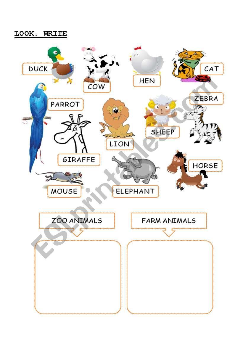 farm or zoo animal esl worksheet by mercedes bueno. Black Bedroom Furniture Sets. Home Design Ideas