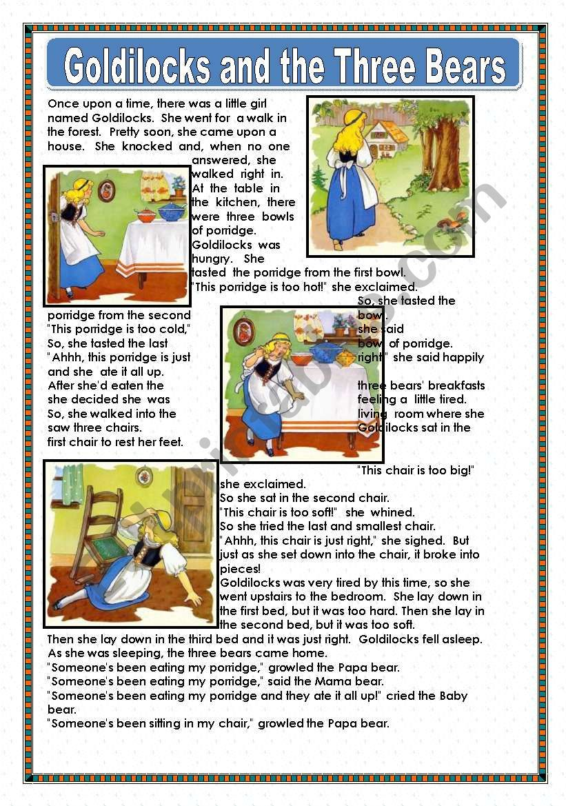 This is a graphic of Goldilocks and the Three Bears Story Printable with story grammar