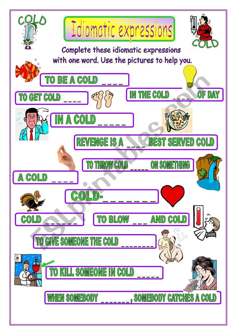 Idiomatic expressions - COLD -