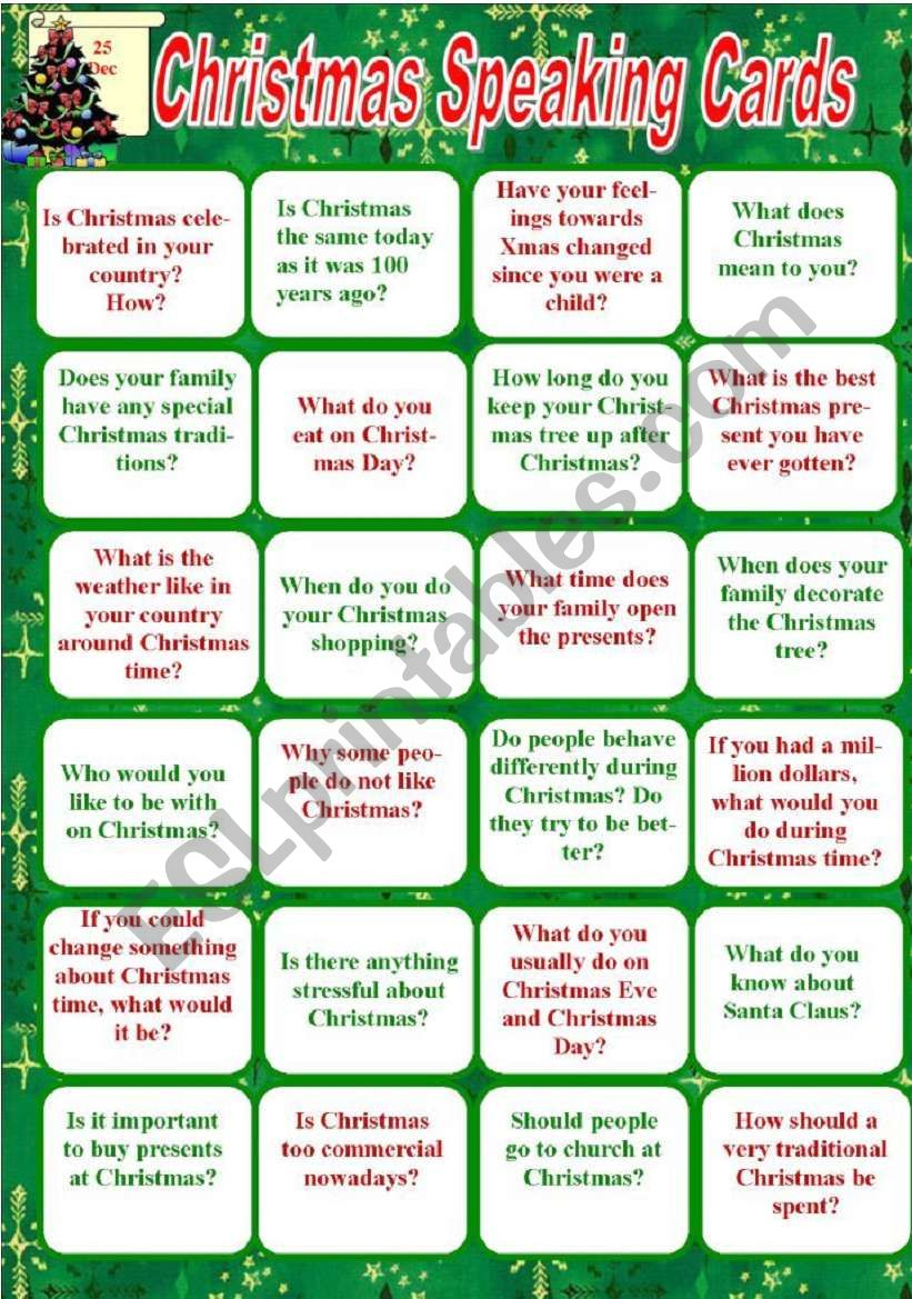 Christmas Speaking Cards worksheet