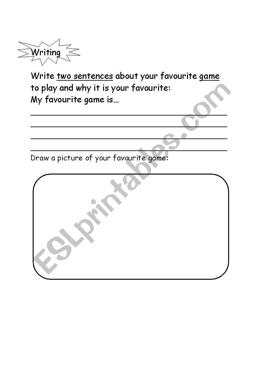 English Worksheets My Favourite Game