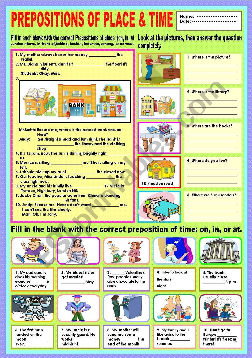 Prepositions of place and time (Review)