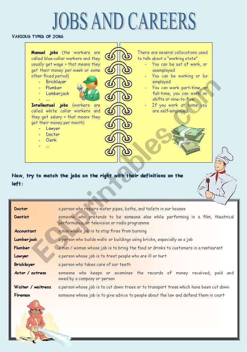 Jobs and careers worksheet