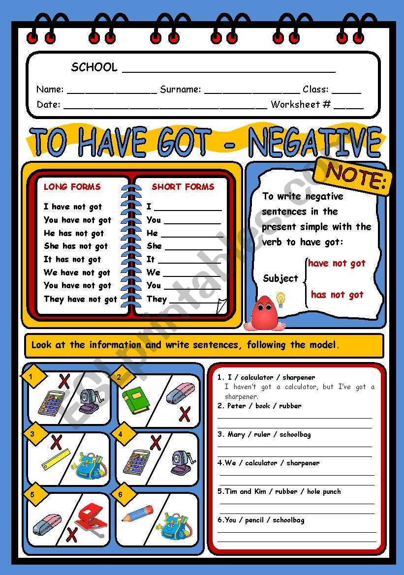 HAVE GOT - NEGATIVE worksheet