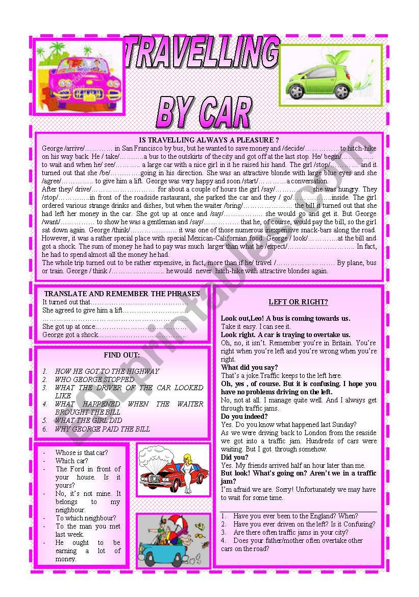 TRAVELLING BY CAR worksheet