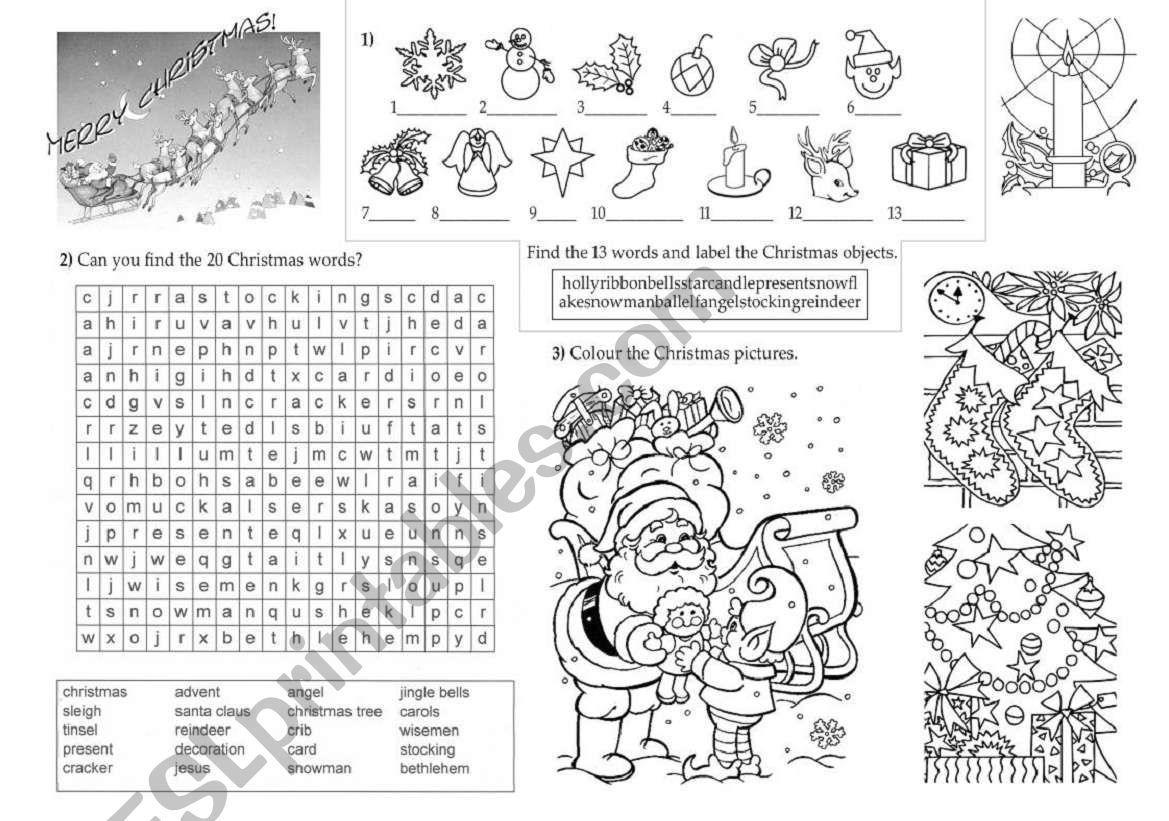 christmas words worksheet