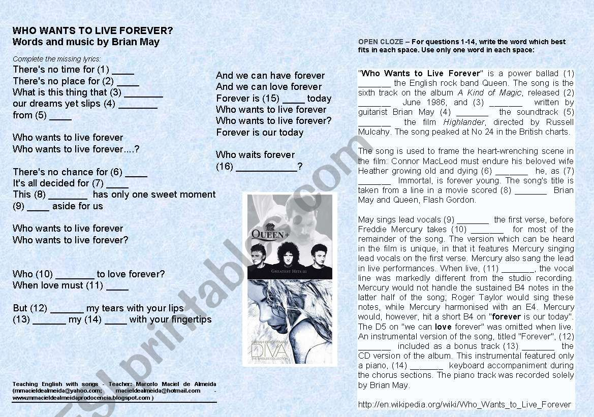 Queen - Who wants to live forever - ESL worksheet by