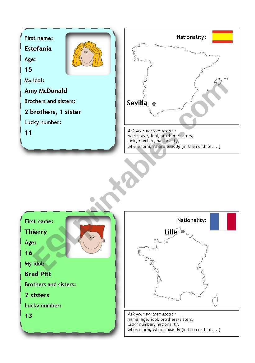 people flashcards 1 (from 12) worksheet