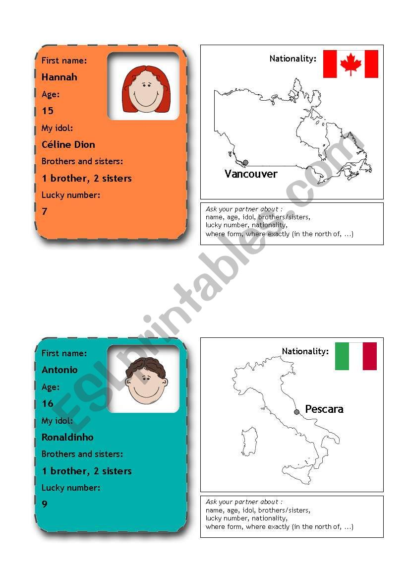 people flashcards 2 (from 12) worksheet