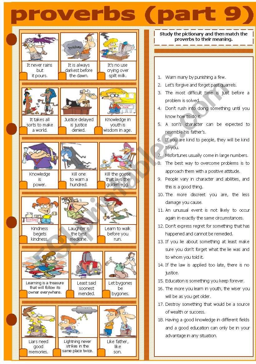 PROVERBS - PART 9 worksheet