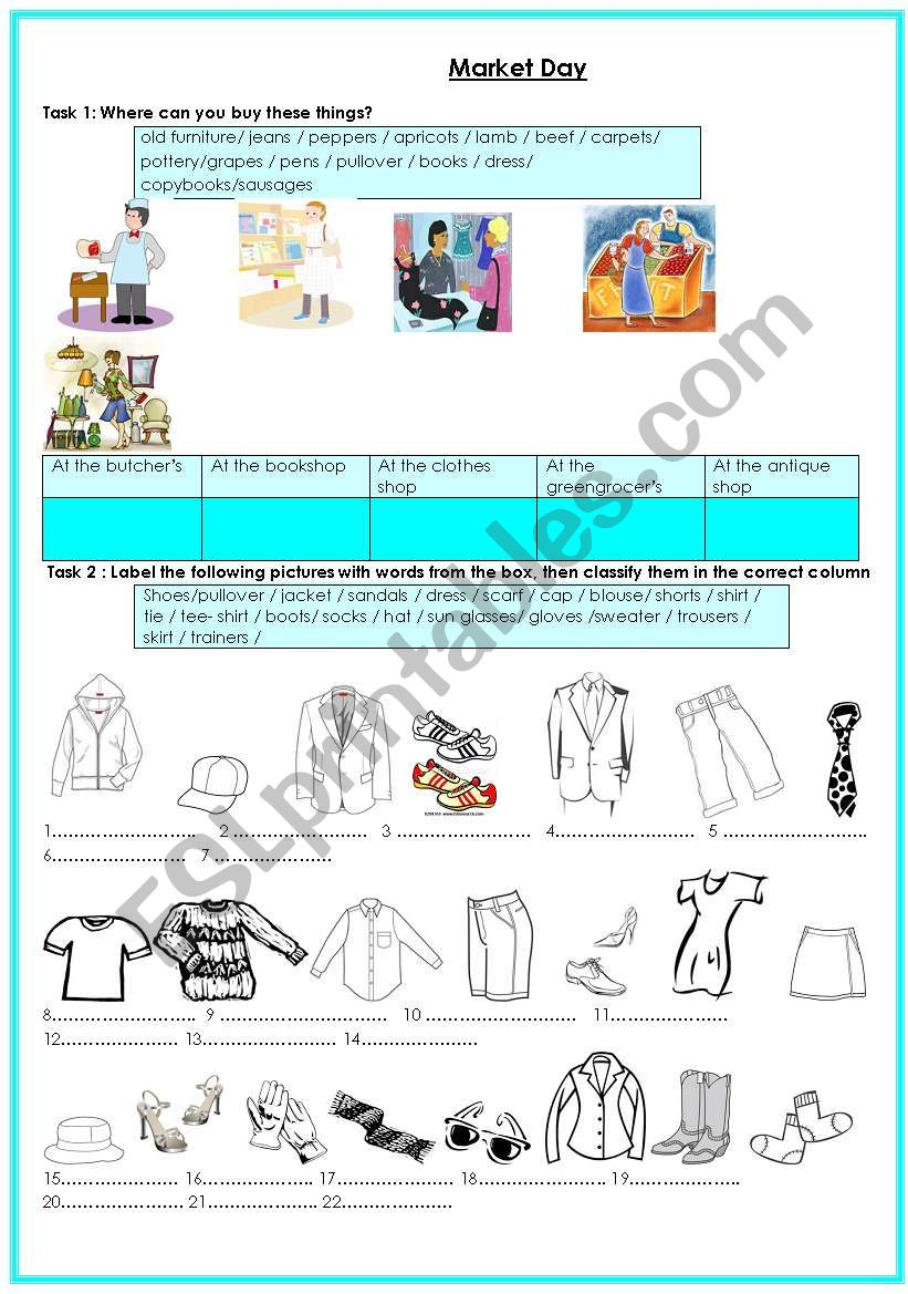 Market Day - ESL worksheet by ons+adem