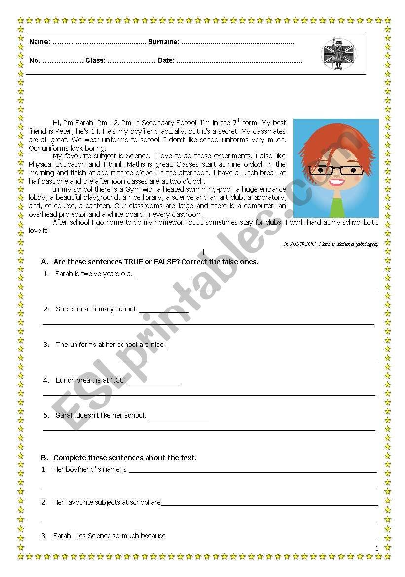 Test - School worksheet