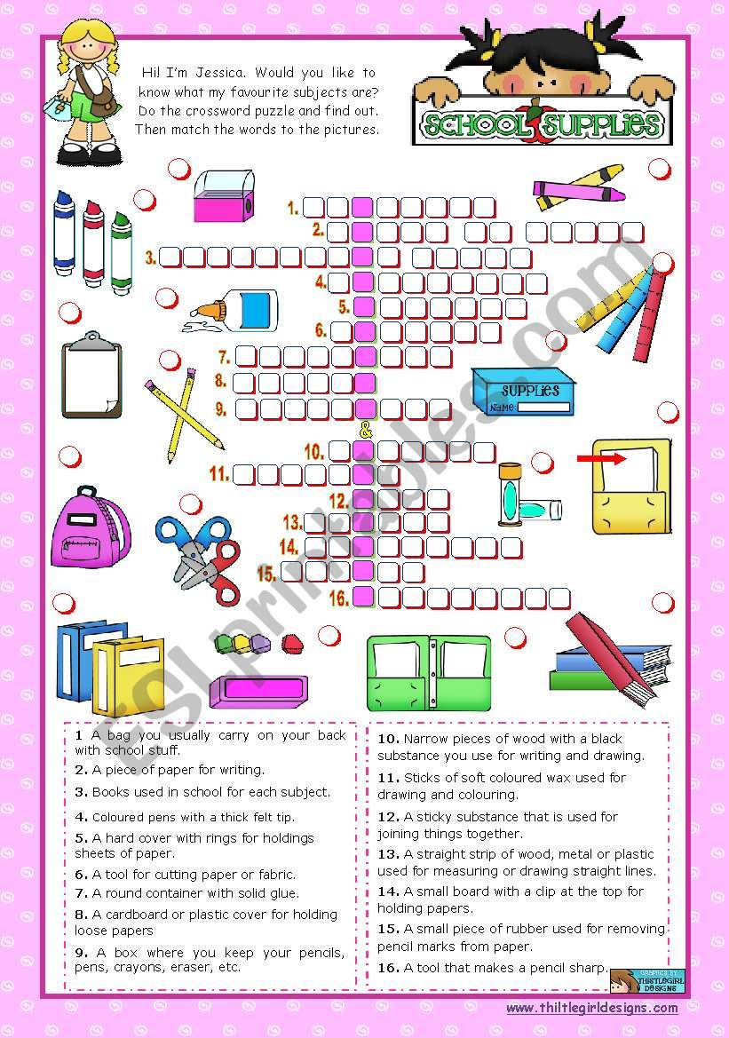 Classroom objects and symbols Set  (9)  -  Basic school supplies