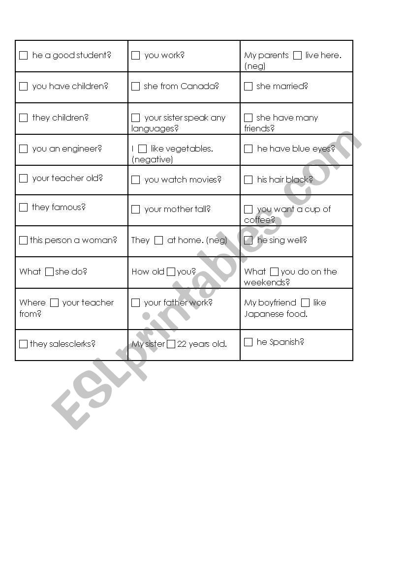 To be or do/does? worksheet