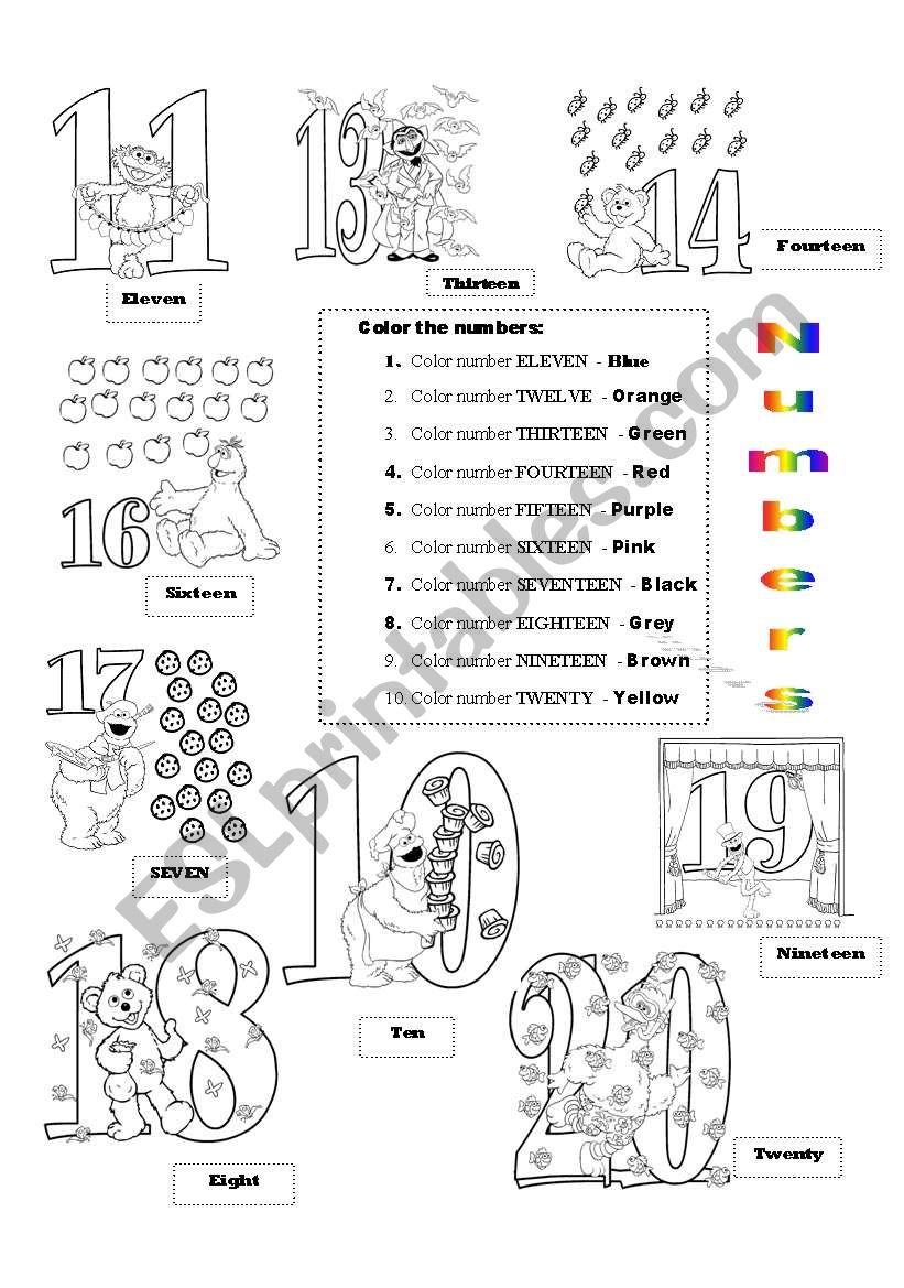 Numbers 11-20 - ESL worksheet by nguyenngocanh