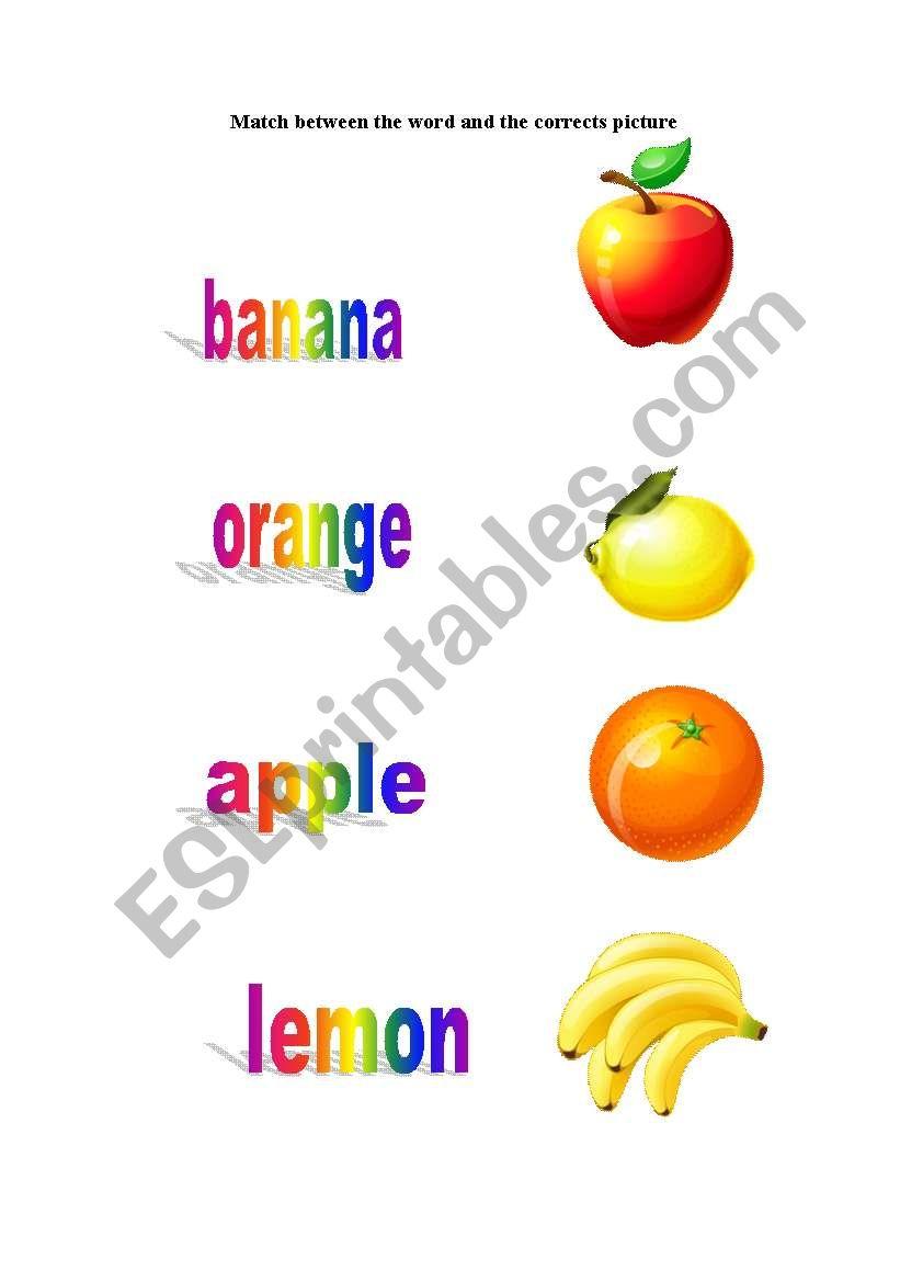 fruits word worksheet