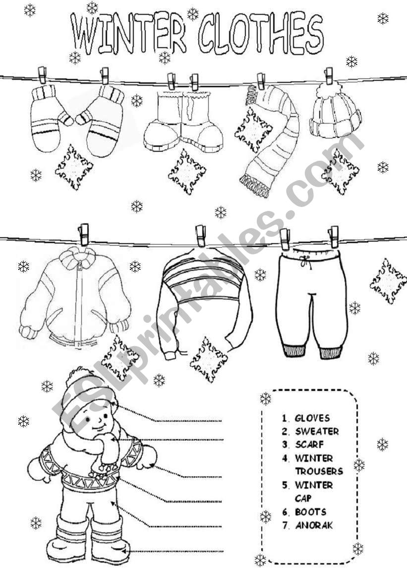 english worksheets winter clothes. Black Bedroom Furniture Sets. Home Design Ideas