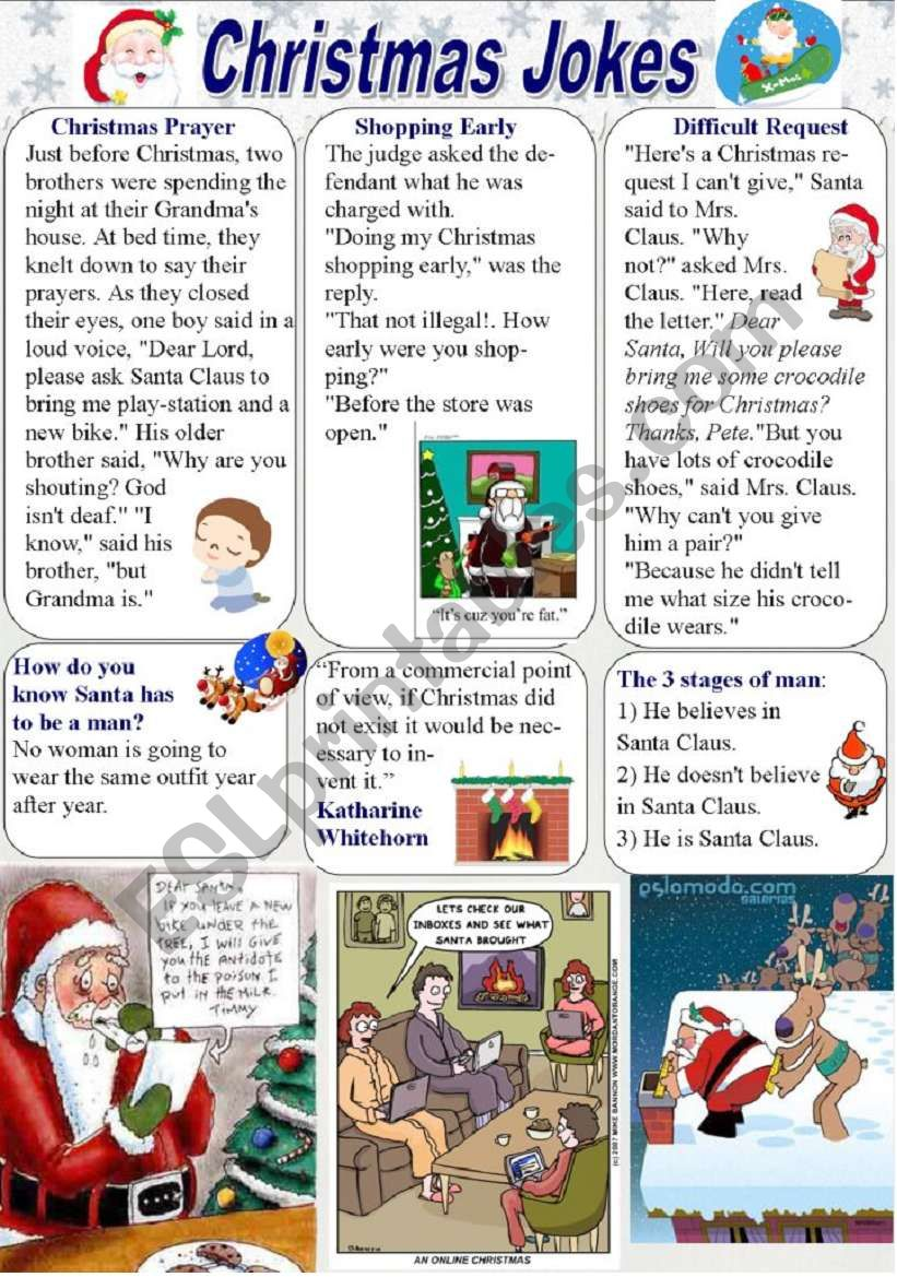 Christmas Jokes (1/2) worksheet