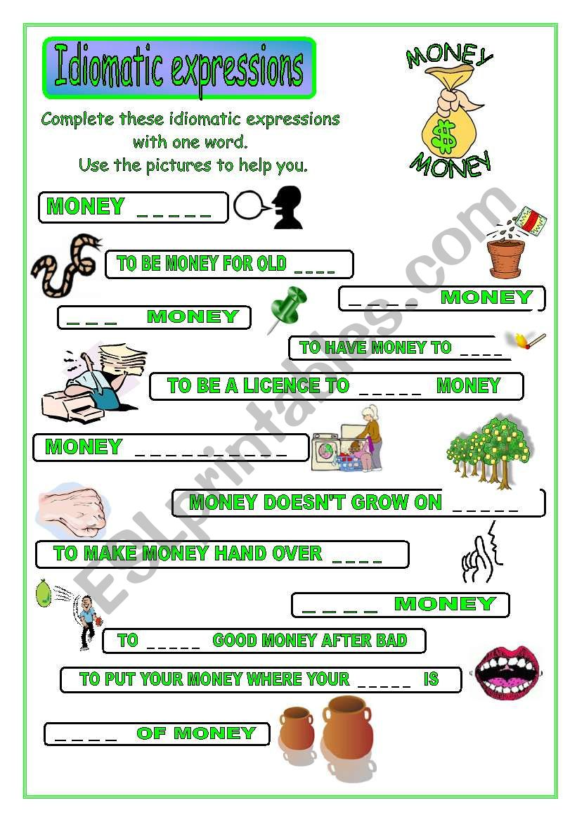 Idiomatic expressions - MONEY  ( part 1/2 ) -