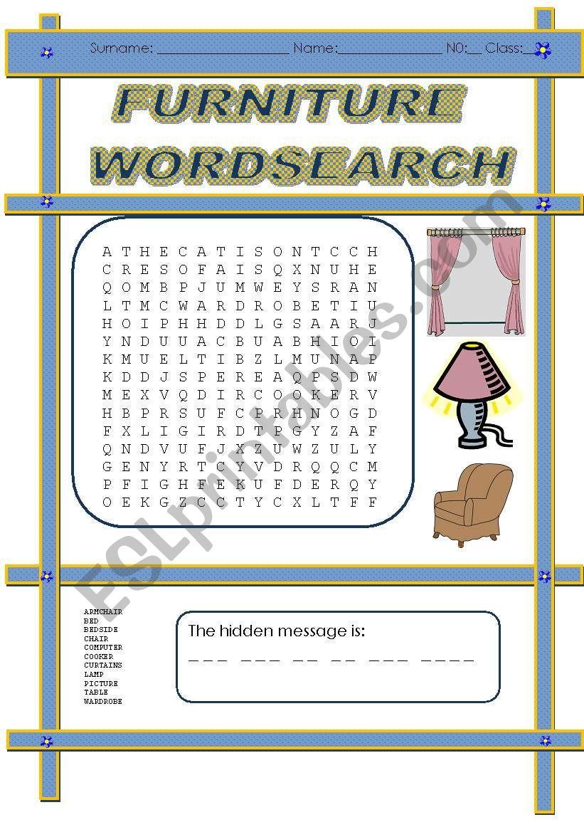 Furniture wordsearch - ESL worksheet by miss-o