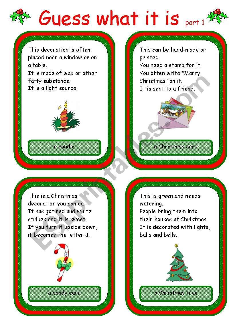 Christmas card game worksheet