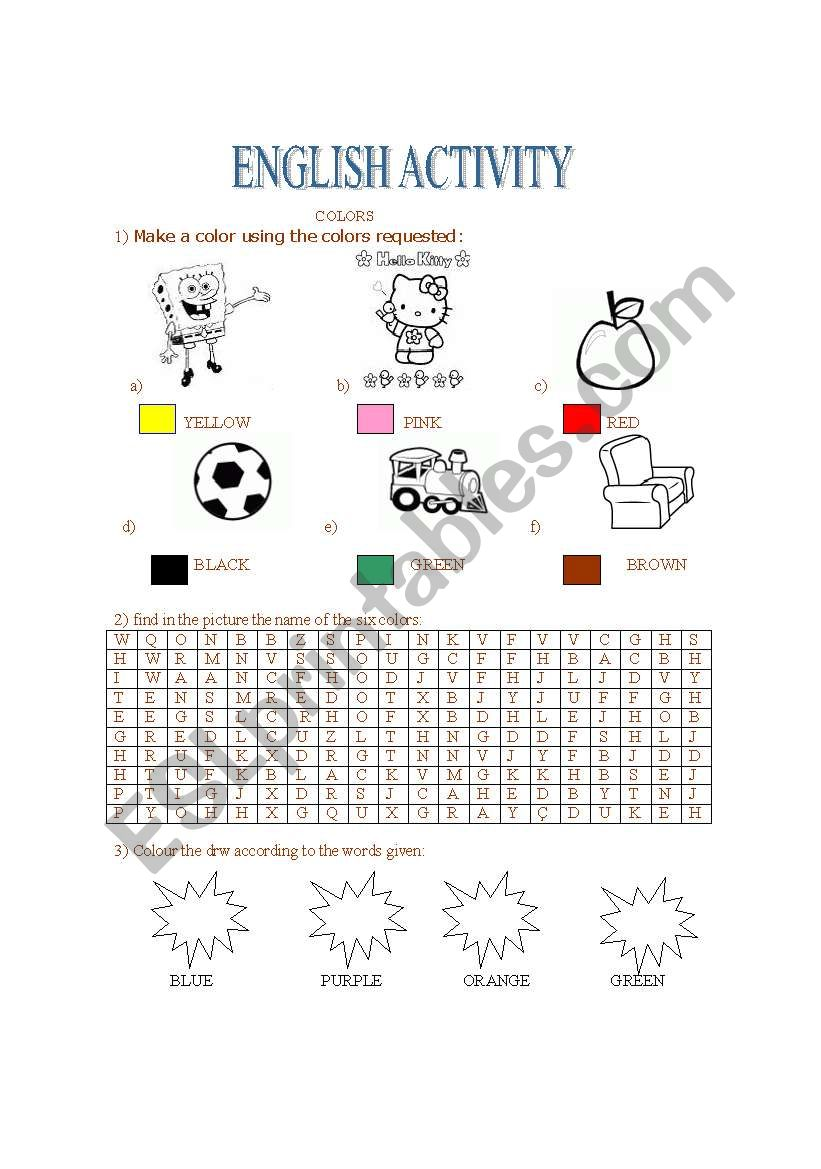 Colors worksheet