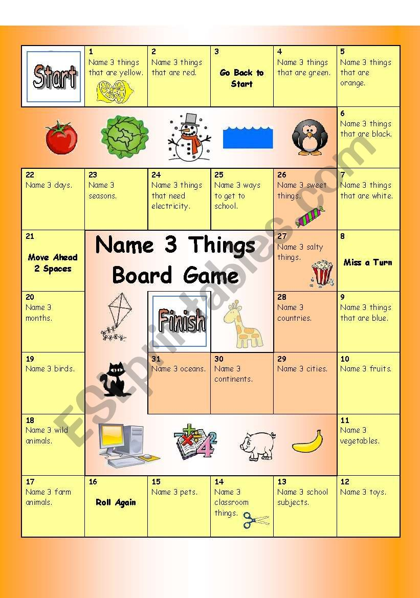 Board Game - Name 3 things (Easy)