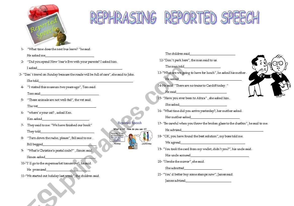 rephrasing reported speech worksheet