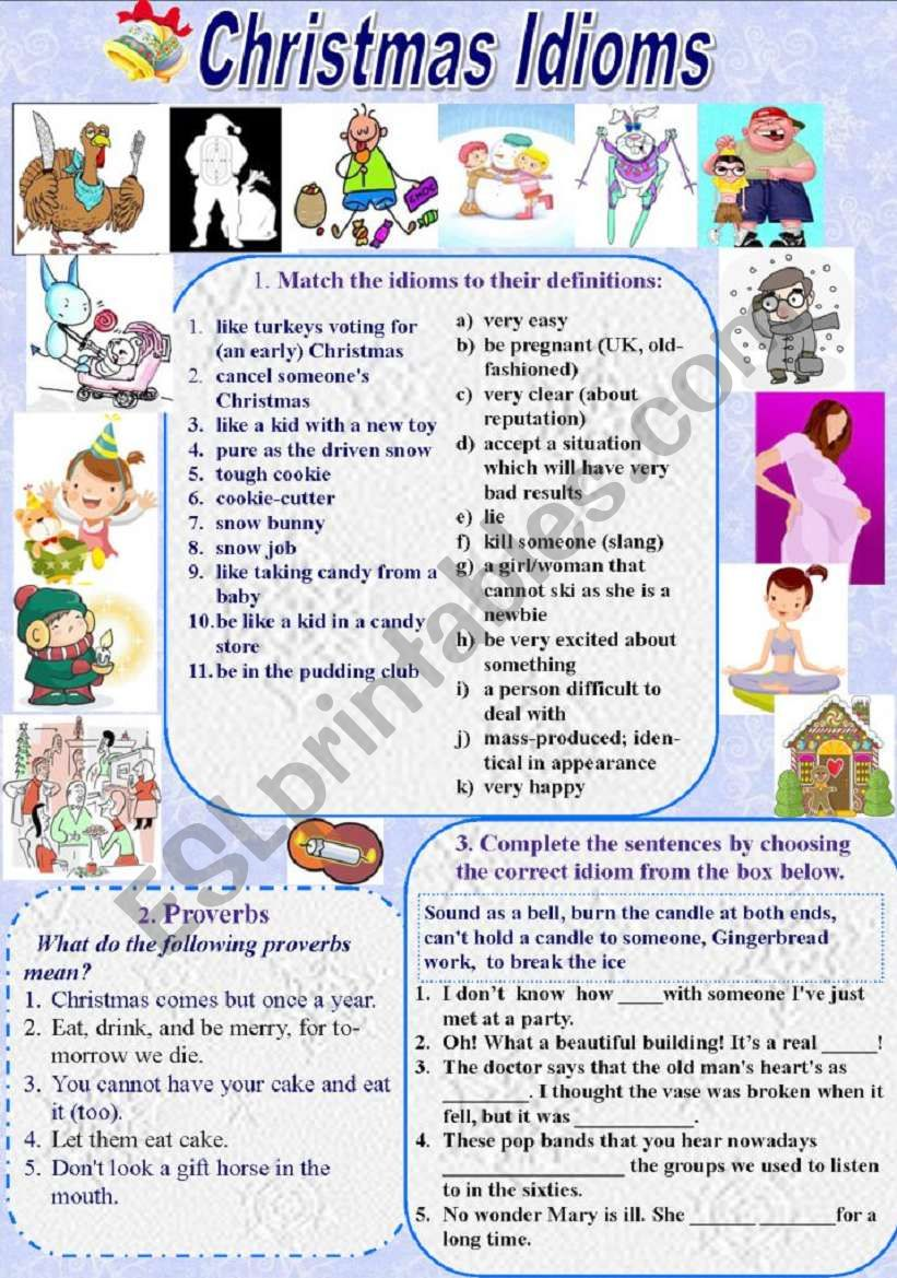 Christmas Idioms and Proverbs (with Keys)