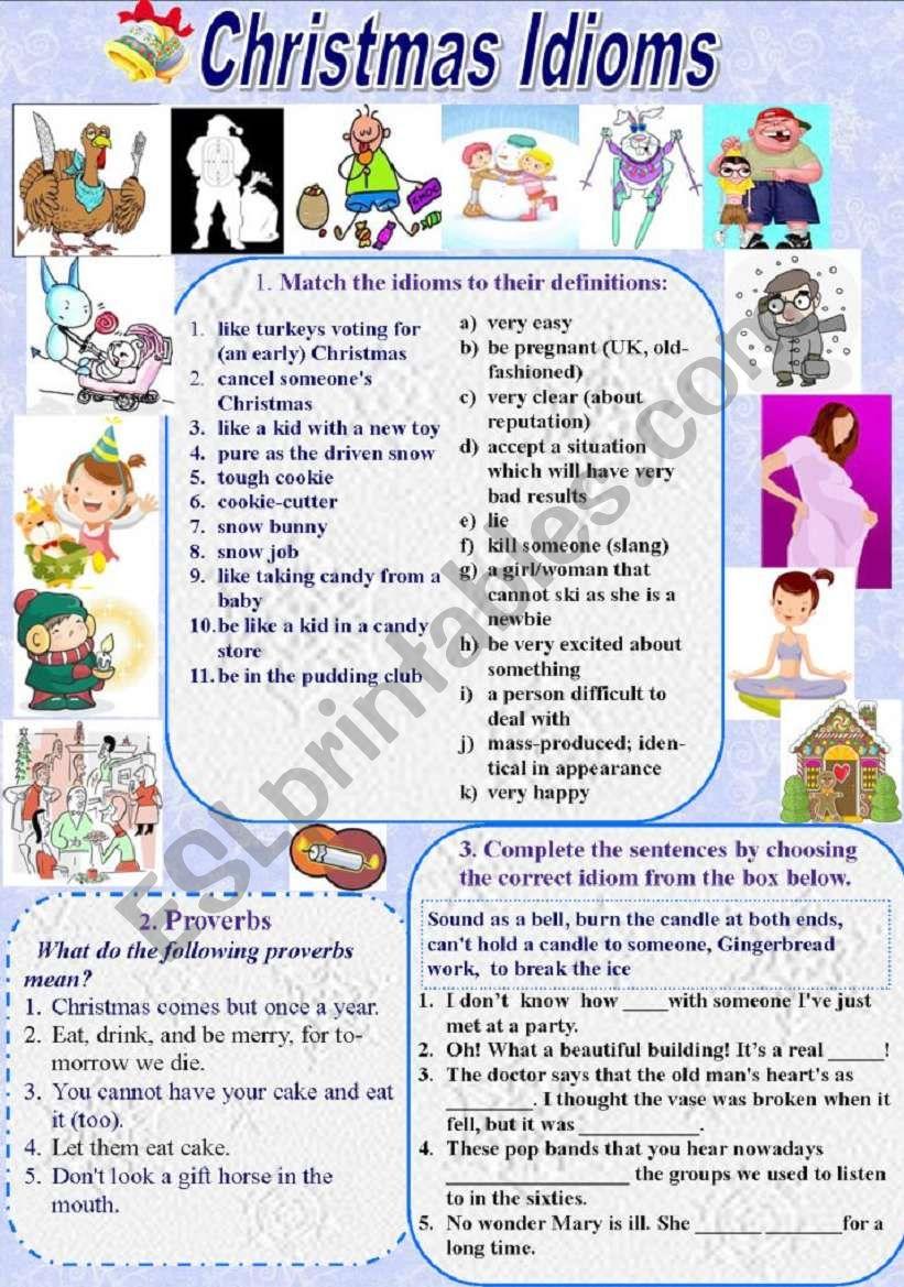 christmas idioms and proverbs with keys - Christmas Idioms
